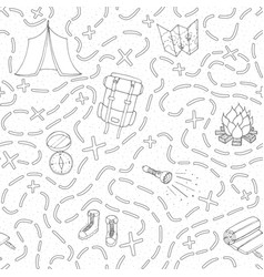 camping seamless pattern with tent compas map vector image
