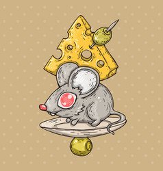Cartoon mouse with cheese and olives cartoon vector