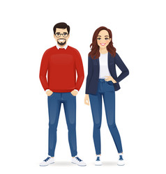 Casual business man and woman vector