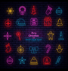 christmas and new year neon vector image