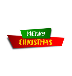 christmas banner christmas ribbon and sticker vector image