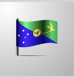 Christmas island waving shiny flag design vector