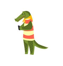 crocodile standing with smartphone cute animal vector image