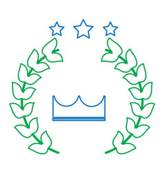 Crown laurel wreath stars winner emblem image vector