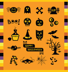 Cute halloween black silhouette icons set on vector