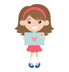 cute pen pal girl with envelope vector image