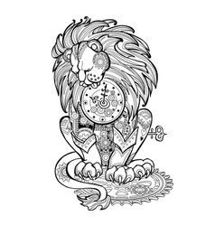 Cute toy lion sitting on gears kids coloring book vector
