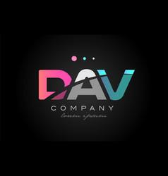 Dav d a v three letter logo icon design vector