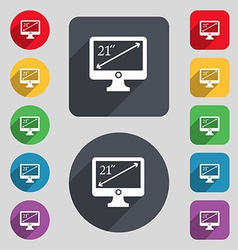 Diagonal of the monitor 21 inches icon sign A set vector