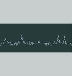 Dresden single line skyline vector