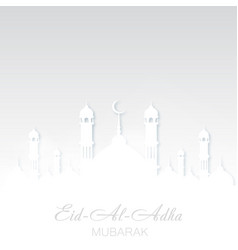 Eid al adha mubarak greeting card with mosque vector