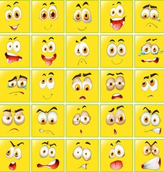 Facial expressions on yellow badges vector image
