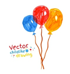 Felt pen childlike drawing of balloons vector