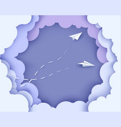 Flying paper airplanes on clouds background vector