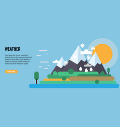 Four seasons in one landscape winter snow vector