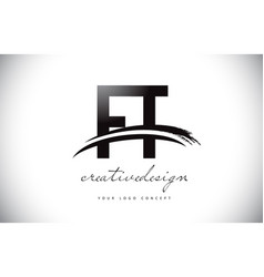 Ft f t letter logo design with swoosh and black vector