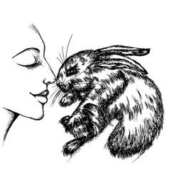 Girl with a bunny vector