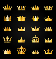 Gold crown icons queen king crowns luxury royal vector