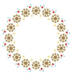 Golden snowflake Christmas frame vector