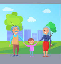 happy grandparents day senior couple with grandson vector image