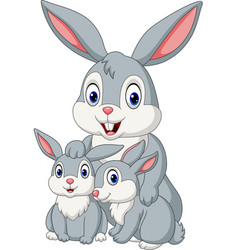 happy rabbits family vector image