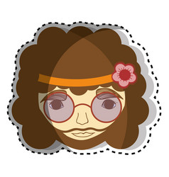 Hippie face man with glasses vector