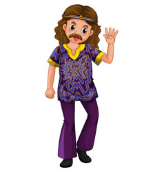 hippie man in purple costume vector image