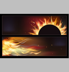 hot fire banners set with orange flames for your vector image