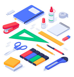isometric office supplies school stationery tools vector image