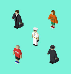 Isometric person set of detective seaman lady vector