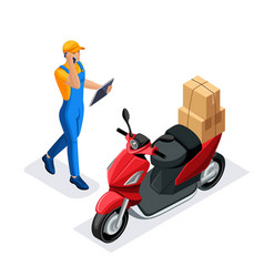 Isometric set of delivery service or courier servi vector