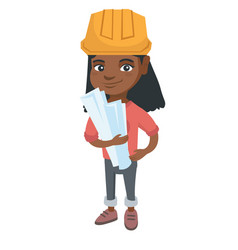 Little african engineer girl holding paper plans vector