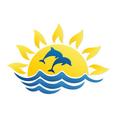 Logo of sun and sea with dolphins vector