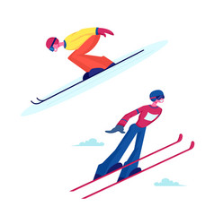 Male and female characters ski jumpers sportsman vector