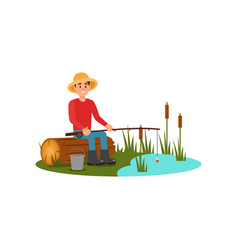 man sitting on log with rod in hands young guy vector image
