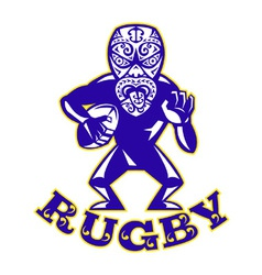 Maori Mask Rugby Player Running With Ball Fending vector image