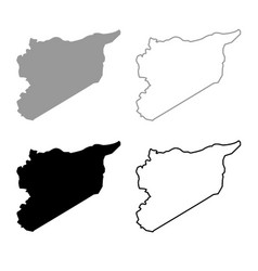 map of syria icon outline set grey black color vector image