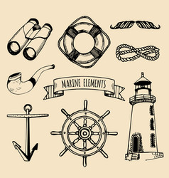 Marine set nautical elements hand vector