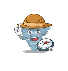 Mascot concept tornado explorer with a compass vector