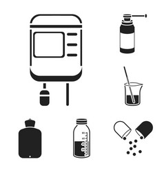 Medicine and treatment black icons in set vector