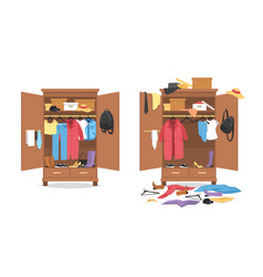 Messy clothes in wardrobe garments before after vector