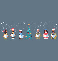 Mix race people reading books merry christmas vector