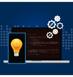 Mobile application programming language code smart vector