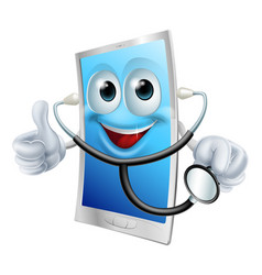 Mobile phone character holding a stethoscope vector