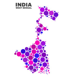 Mosaic west bengal state map of round elements vector