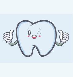 Okay tooth character emoticon cartoon style logo vector