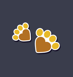Paper sticker on stylish background cat tracks vector