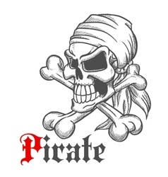 Pirate skull sketch with crossbones vector image