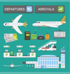 plane airport transport symbols flat design vector image