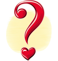 Question mark in the shape of heart vector